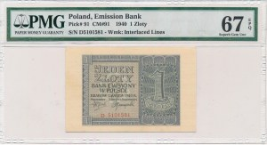 1 złoty 1940 -D- PMG 67 EPQ