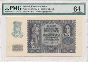 20 złotych 1940 -A- PMG 64