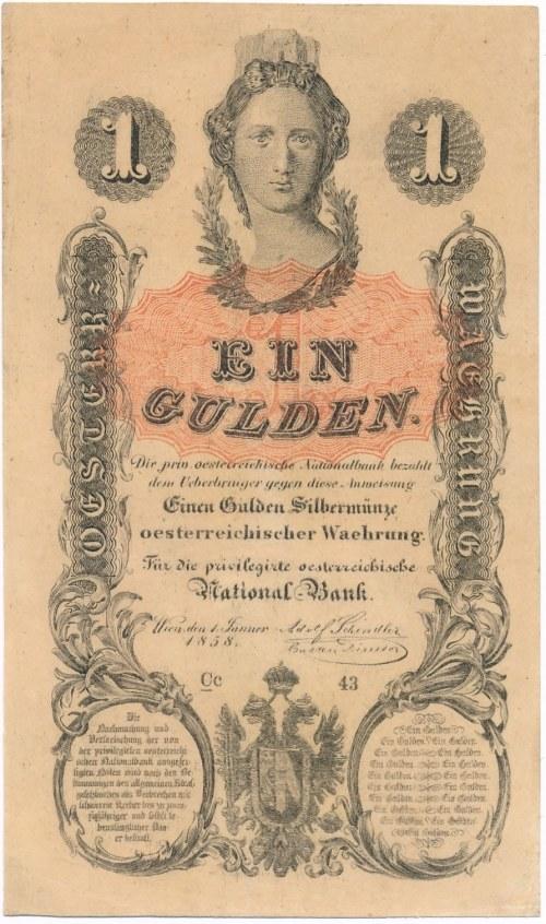 Austria 1 gulden 1858 - piękny
