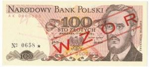 100 złotych 1976 WZÓR AK 0000000 No.0658