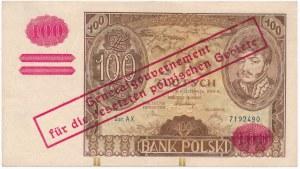 100 złotych 1934(9) z nadrukiem -AX- znw. kreski na dole - RZADKOŚĆ
