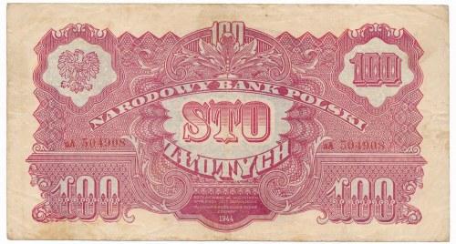 100 złotych 1944 ...owe -aA- b.rzadka odmiana