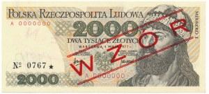 2.000 złotych 1977 WZÓR A 0000000 No.0767