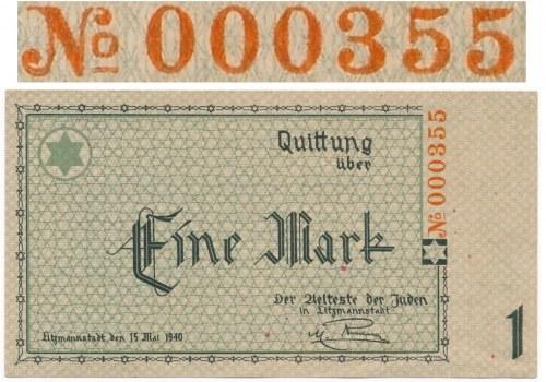 1 marka 1940 - 6cyfr - 000355- ENTWERTET - RZADKOŚĆ