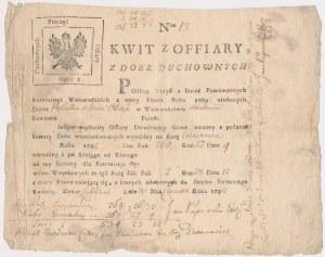 Kwit ofiary Dwudziestego Grosza z Dóbr Duchownych - Lublin 1792