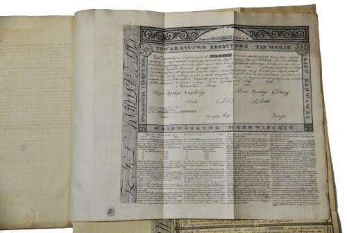 Projekt do prawa o ustanowieniu Towarzystwa Kredytowego Ziemskiego w Królestwie Polskim 1825r. + WZORY LISTÓW ZASTAWNYCH