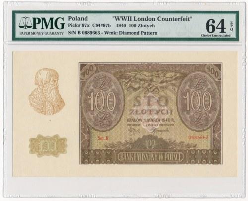 100 złotych 1940 -B- ZWZ - PMG 64 EPQ