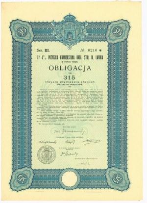 Lwów Obligacja 4% Pożyczka Konwersyjna - Ser.III 315 złotych