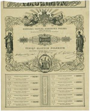 5% Pożyczka Ogólna Narodowa Polska - 1.000 złotych 1863 - EKSTREMALNIE RZADKA - BRAK LUCOW