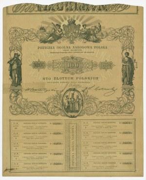 5% Pożyczka Ogólna Narodowa Polska - 100 złotych 1863 - RZADKA