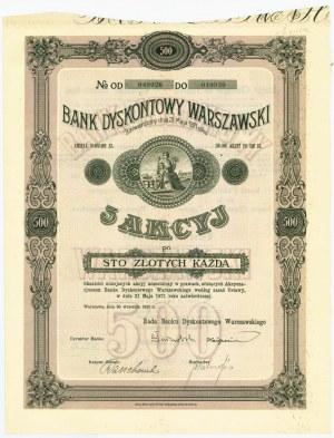 Bank Dyskontowy Warszawski, Em.9, 5x100 złotych 1926
