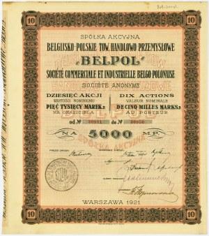 Belgijsko-Polskie Tow. Handlowo-Przemysłowe BELPOL, Em.1, 10x500 marek 1921