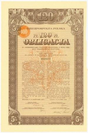 Obligacja Konwersyjna Pożyczki Kolejowej - 120 złotych 1926