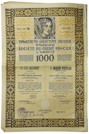 Towarzystwo Kredytowe Ziemskie w Warszawie - 6% List Zastawny na 1.000 franków