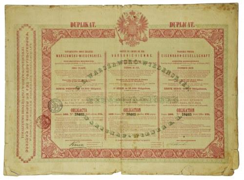 DUPLIKAT Obligacji Tow. Drogi Żelaznej Warszawsko-Wiedeńskiej 1860 - drukowany w Warszawie - RZADKOŚĆ