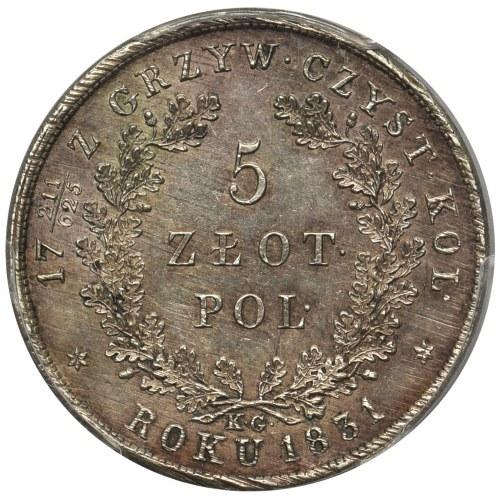 Powstanie Listopadowe, 5 złotych 1831 KG - PCGS AU58