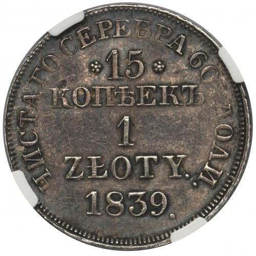 15 kopiejek = 1 złoty 1839 MW, Warszawa - NGC MS62