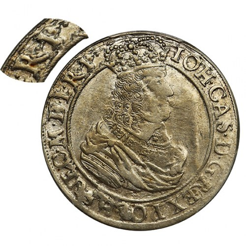 Jan II Kazimierz, Ort Gdańsk 1664 DL - PCGS AU55 - RZADKOŚĆ z nienotowanym napisem
