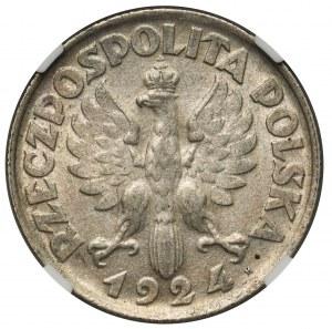 Kobieta i kłosy 2 złote 1924 literka H - NGC AU55 - RZADKOŚĆ