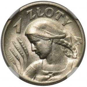 Kobieta i kłosy 1 złoty 1925 - NGC AU 58