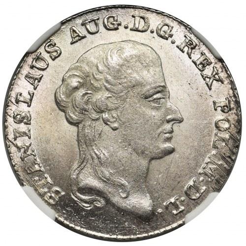 Poniatowski, Dwuzłotówka 1794 M.V. - 42 1/4 - NGC MS64