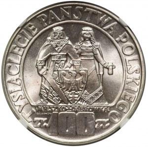 100 złotych 1966 Mieszko i Dąbrówka - NGC MS67 PIĘKNA
