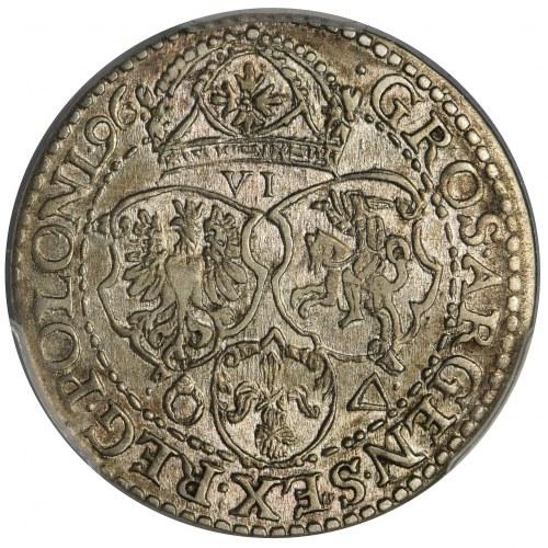 Zygmunt III Waza, Szóstak Malbork 1596 - PCGS AU55 - mała głowa