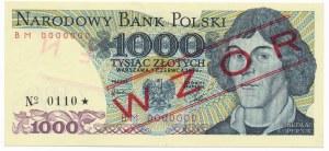 1.000 złotych 1979 WZÓR BM 0000000 No.0110