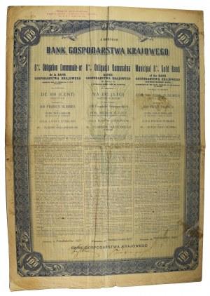 8% Obligacja komunalna na 100 złotych w złocie 1.10.1927
