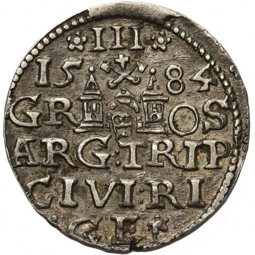 Stefan Batory, Trojak Ryga 1584 - rozetka z łodygą