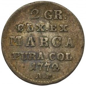 Poniatowski, Półzłotek 1772 A.P. - rzadki rocznik i inny układ wieńca.
