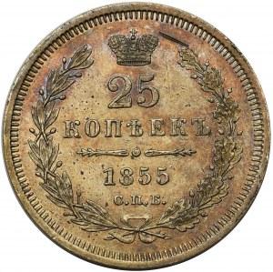 Rosja, Mikołaj I, 25 kopiejek 1855 СПБ НI, Petersburg