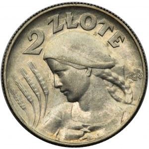 Kobieta i kłosy 2 złote 1925 (z kropką) Londyn