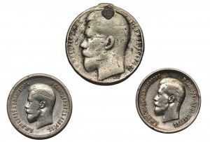 Rosja, Mikołaj , 2 x 25 kopiejek 1896 oraz medal za odwagę (3 szt.)