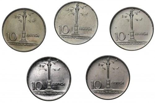 10 złotych 1966 Mała kolumna - Zestaw (5 szt.) - mennicze z banku