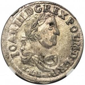 Jan III Sobieski, Szóstak Bydgoszcz 1683 TLB - herb Jelita - NGC AU58