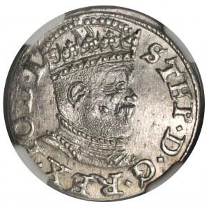 Stefan Batory, Trojak Ryga 1586 - NGC MS62