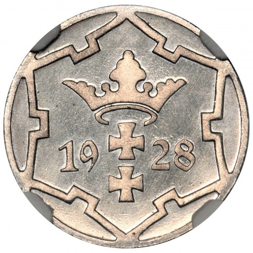 Wolne Miasto Gdańsk - 5 fenigów 1928 NGC PF65 CAMEO - stempel lustrzany - RZADKOŚĆ