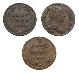 Austria, Zestaw trzech XVIII-wiecznych monet miedzianych