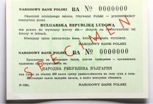 PRL, talon podróżny na Bułgarię, wzór (SPECIMEN)