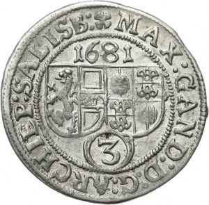 Austria, Salzburg arcybiskupstwo, Maksymilian Gandolf graf Kuenburg 1668-1687, 3 krajcary 1681, Salzburg