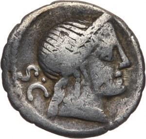 Republika Rzymska, C. Naevius Balbus 79 pne, denar serratus 79 pne