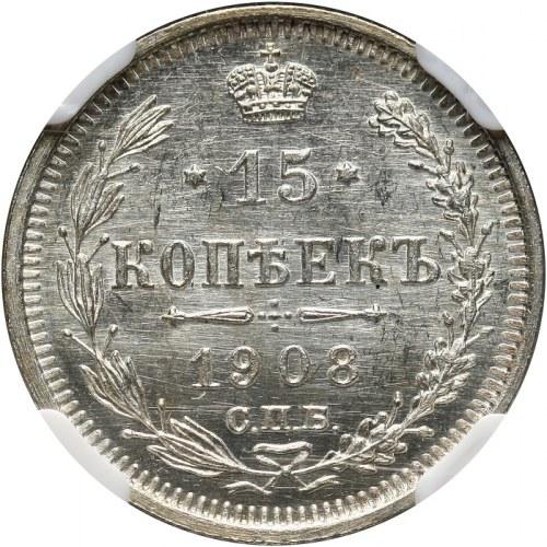 Rosja, Mikołaj II 1894-1917, 15 kopiejek 1908, Petersburg