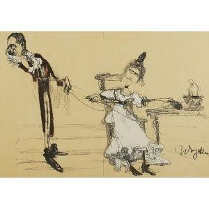 """Witold WOJTKIEWICZ (1879-1909), Albin i Klara w Ślubach Panieńskich Aleksandra Fredry, z: """"Teka Melpomeny"""", 1904"""