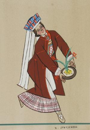 Zofia STRYJEŃSKA (1894-1976), Kurpiowski Strój Ludowy z Teki Polskie Stroje Ludowe