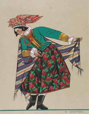 Zofia STRYJEŃSKA (1894-1976), Strój Ludowy z Małopolski z Teki Polskie Stroje Ludowe