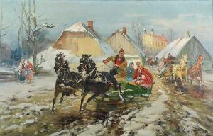 Czesław WASILEWSKI (ok. 1875-1946/47), Wyjazd ze święconkami z kościoła, ok. 1940