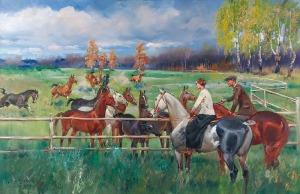 Jerzy KOSSAK (1886-1955), Stadnina, ok. 1950