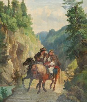 Józef JAROSZYŃSKI (1835-1900), Para zakochanych na przełęczy