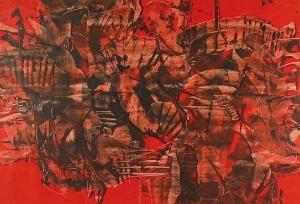 Alfred LENICA (1899-1977), Kompozycja czerwona, lata 60. XX w.